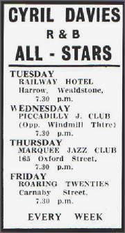 Cyril Davies All-Stars 1962 (gig list)